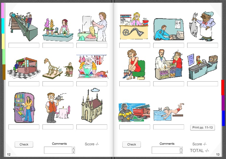 Interactive book on shops and prepositions